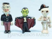 Brinquedos Antigos - Casablanca e Gulliver - Conjunto com 3 personagens cl�ssicos de Terror Frankstein Dr�cula e Caveira 8,00 cm de altura D�cada de 1970
