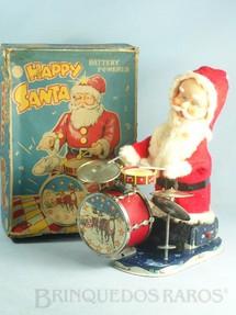 1. Brinquedos antigos - Alps - Papai Noel tocando bateria 23,00 cm de altura Happy Santa de tecido e lata Década de 1950