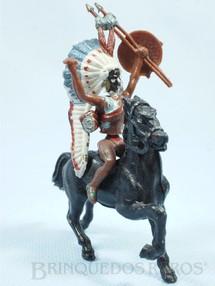 1. Brinquedos antigos - Herald - Índio montado a cavalo com lança faca e escudo Ano 1965