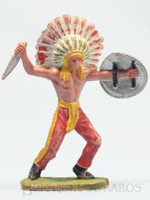 1. Brinquedos antigos - Casablanca e Gulliver - Chefe índio de pé com faca e escudo Chefe Mão Amarela Casablanca numerado 132