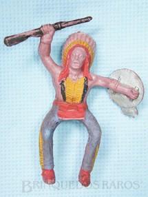 Brinquedos Antigos - Casablanca e Gulliver - Chefe �ndio montado a cavalo com rifle e escudo