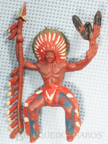 1. Brinquedos antigos - Casablanca e Gulliver - Chefe índio montado a cavalo com lança e águia Década de 1960