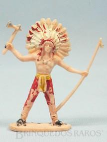 1. Brinquedos antigos - Casablanca e Gulliver - Chefe índio de pé com Lança e Machado Distribuído pela Trol e pela Viocena Década de 1970