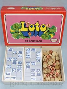 1. Brinquedos antigos - Coluna - Jogo Loto Bingo Tombola com 60 Cartelas Pedras de Madeira Década de 1970
