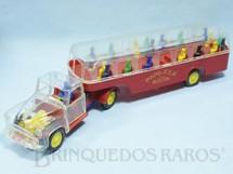 1. Brinquedos antigos - Mirim - Onibus Papa-Fila com cabine transparente e passageiros 40,00 cm de comprimento Ano 1954