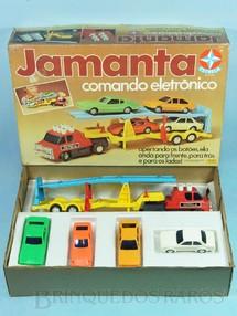 1. Brinquedos antigos - Estrela - Caminhão Cegonha Jamanta Comando Eletrônico com 4 carros Puma Maverick  Passat e Chevette Ano 1984