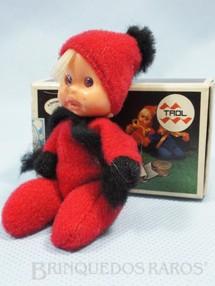 1. Brinquedos antigos - Trol - Fofolete com olhos de plástico 6,00 Cm de altura Vermelha Década de 1970