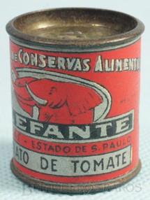 1. Brinquedos antigos - Sem identificação - Lata de Extrato de Tomate Elefante com 3,00 cm de diamêtro Brinde da Cica Década de 1950