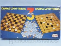 1. Brinquedos antigos - Coluna - Conjunto de 3 Jogos Damas Loto e Trilha Caixa Lacrada Década de 1980