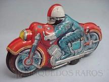 1. Brinquedos antigos - Sem identificação - Motocicleta vermelha com motociclista azul com 25 cm de comprimento. Década de 1970