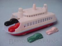 1. Brinquedos antigos - Trol - Ferry Boat 18 cm de comprimento com quatro carros de 4,00 cm Década de 1950