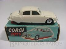 1. Brinquedos antigos - Corgi Toys - Jaguar 2.4 Litre Saloon Chassi de chapa de Aço caixa azul Década de 1960