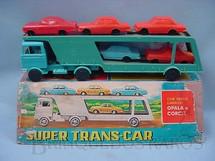 1. Brinquedos antigos - Estrela - Caminhão cegonha Super Trans-Car com cinco carros de plastico assoprado Corcel e Opala