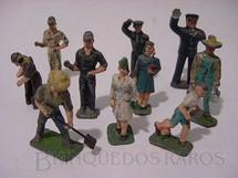 1. Brinquedos antigos - Sem identificação - Figuras de passageiros para trem elétrico Década de 1950 Preço por unidade