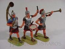 1. Brinquedos antigos - Elastolin - Conjunto de tres soldados romanos em banda