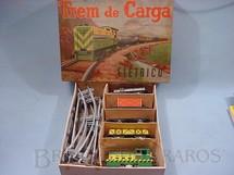 1. Brinquedos antigos - Metalma - Conjunto Trem de Carga com locomotiva e 4 vagões de carga