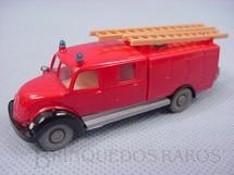 1. Brinquedos antigos - Wiking - Caminhão Magirus Deutz 1935 com mangueira e escadas Década de 1970