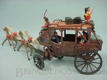 1. Brinquedos antigos - Viocena - Diligência completa com quatro figuras Gulliver e bagagens Série Gunsmoke Década de 1970