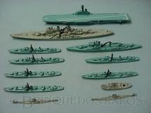 1. Brinquedos antigos - Tri Ang - Conjunto de dez navios de guerra e dois submarinos Waterline Models Serie Década de 1960