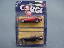 1. Brinquedos antigos - Corgi Toys-Corgi Jr. - Pontiac Firebird e Chevrolet Corvette Blister duplo lacrado Corgi Jr
