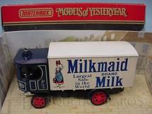 1. Brinquedos antigos - Matchbox - Caminhão a Vapor Garrett Steam Wagon Milkmaid Leite Moça Yesteryear