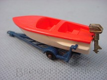 1. Brinquedos antigos - Matchbox - Sports Boat and Trailer black plastic Regular Wheels