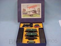 1. Brinquedos antigos - Fleischmann - Conjunto de locomotiva a vapor e dois Carros de passageiros Made in US Zone Ano 1954