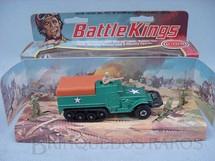 1. Brinquedos antigos - Matchbox - M3A1 Half Track Battle Kings verde metálico completo com tres soldados