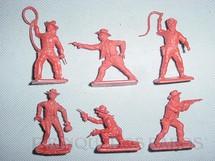 1. Brinquedos antigos - Crescent Toys - Conjunto de seis Cowboys, sem pintura. Década de 1960