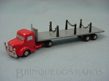 1. Brinquedos antigos - Schuco - Cavalo mecânico Krupp com carreta prancha Série Piccolo numerado 751 Década de 1960