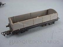 1. Brinquedos antigos - Atma - Vagão Gôndola Cinza com dois trucks Corrente Alternada Atma Mirim Década de 1950