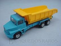 1. Brinquedos antigos - Corgi Toys-Kiko - Scania Vabis Dump Truck azul e amarelo Brazilian Corgi Jr Kiko Década de 1980