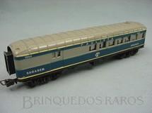 1. Brinquedos antigos - Atma - Carro de Passageiros azul Companhia Paulista segunda classe e bagagem Década de 1970
