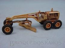 1. Brinquedos antigos - Juê - Motoniveladora Caterpillar CAT 12 com 10,00 cm de comprimento folheada a ouro Década de 1970