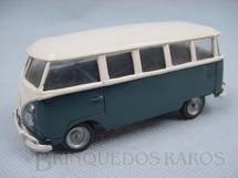 1. Brinquedos antigos - Juê - Volkswagen Kombi azul e branca Década de 1960