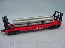 1. Brinquedos antigos - Lionel - Vagão 6477 Bulkhead Car whit Plastic Pipes Ano 1957 a 1958