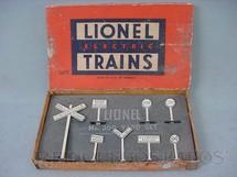 1. Brinquedos antigos - Lionel - Placas de sinalização 309 Yard Sign Set Ano 1950 a 1959