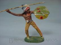 1. Brinquedos antigos - Elastolin - Chefe índio com lança e escudo Década de 1950