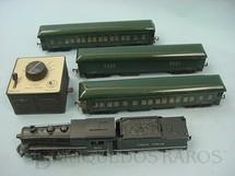 1. Brinquedos antigos - Bassett Lowke - Conjunto de Locomotiva a vapor um vagão de bagagens e dois carros Pullman de passageiros Sistema Trix Twin Ano 1948