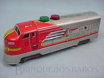1. Brinquedos antigos - Nomura Toys - Locomotiva diesel Santa Fé com luzes no teto Década de 1960
