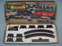 1. Brinquedos antigos - Roco - Conjunto de Locomotiva Industrial a vapor oito vagonetas e trilhos Bitola HON3 Década de 1970