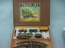 1. Brinquedos antigos - Modern Toys e Masudaya Toys - Conjunto de Locomotiva e 3 Vagões de Carga Década de 1950