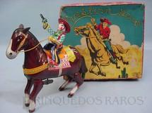 1. Brinquedos antigos - Haji - Cavalo com Cowboy Mechanical Western Hero Década de 1960