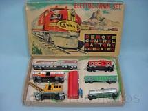1. Brinquedos antigos - S.S.N. - Conjunto de Locomotiva a vapor e cinco vagões de carga Electro Train Set Década de 1950