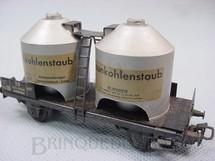 1. Brinquedos antigos - Marklin - Vagão transporte de pó de carvão com dois eixos Braunkohlenstaub decoração em decalcomania Década de 1960