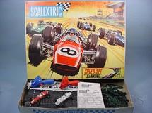 1. Brinquedos antigos - Scalextric - Conjunto Speed Set Completo com dois carros  Formula 1 Década de 1970