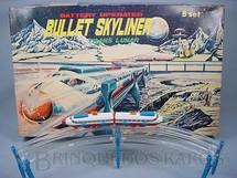 1. Brinquedos antigos - Yonezawa - Conjunto de Trem Espacial Bullet Skyliner Trans Lunar Completo Década de 1970