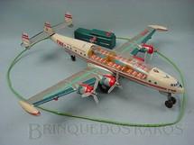 1. Brinquedos antigos - Sem identificação - Avião Super Constellation Trans Word Airlines com 42,00 cm de comprimento Teto transparente Década de 1960