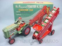 1. Brinquedos antigos - Modern Toys e Masudaya Toys - Trator Agrícola com esteira transportadora de grãos Hi Powered Tractor with Conveyor Car Década de 1950