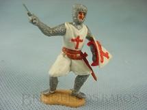 1. Brinquedos antigos - Timpo Toys - Soldado Cruzado a pé com escudo e espada Década de 1970